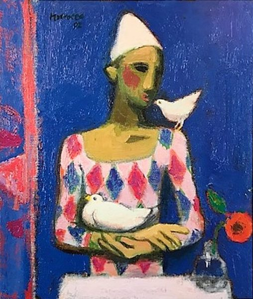 Alberto Morrocco_Clown with Doves_19.5x16.5_28.5x25.5_199 for 99.50 unframed