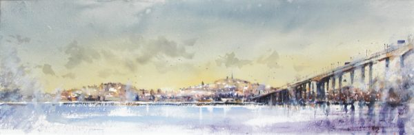 Graham Wands_Dundee from Newport on Tay_Watercolour_12x36.5_23x47.5_695 unframed