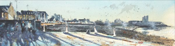 Graham Wands_Early Light from the Pilot Pier, Broughty Ferry _Watercolour_6x21.5_17x32_395