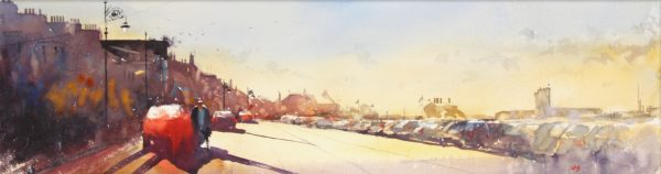 Graham Wands_Morning Light, Beach Crescent, Broughty Ferry _Watercolour_10.5x38_21x48_unframed_650
