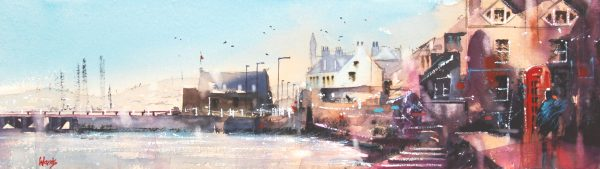 Graham Wands_The Liftboat Shed, Broughty Ferry _Watercolour_6x21.5_17x32_395