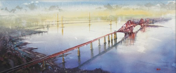 Graham Wands_Three Bridges and the Forth_Watercolour_13.5x32.5_24x43_695 unframed