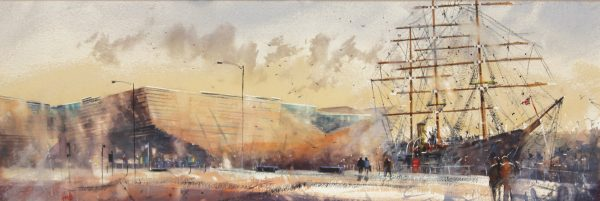 Graham Wands_V&A and RRS Discovery_Watercolour_12x36.5_23x47.5_695 unframed