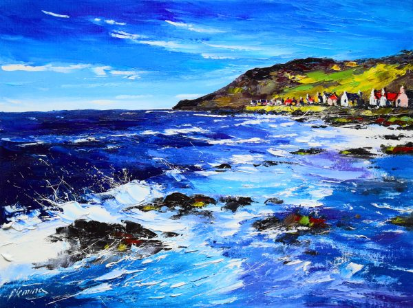 1.Late Afternoon Breakers, Crovie, Aberdeenshire, canvas size 30cm x 40cm, £399