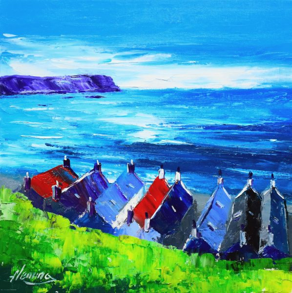 3.Crovie Cottages, Summer, Gamrie Bay, Aberdeenshire