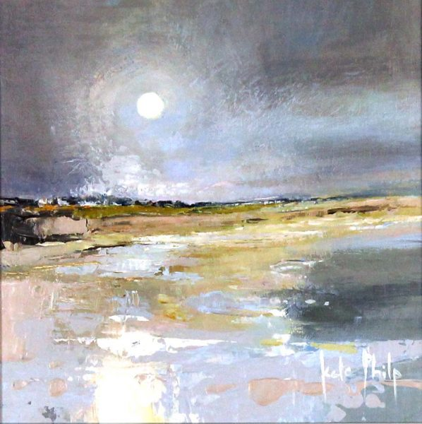 Kate Philp_Original_ Pale Moon, Carnoustie unframed