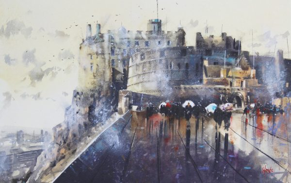 Graham Wands_Edinburgh Skyline_Watercolour_22x38_34x49 unframed