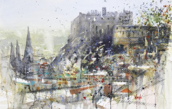 Graham Wands_study, Edinburgh Castle_Watercolour_13x21_24x32 unframed