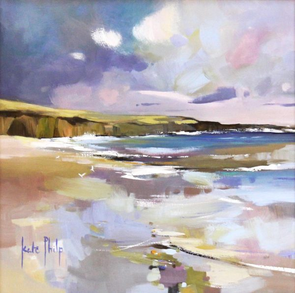 Kate Philp, Autumn Reflections, Lunan Bay', 12x12_21x21, £160 unframed