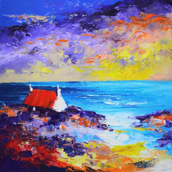 2.Cottage on the Shore, Sunset, Luskentyre, Harris