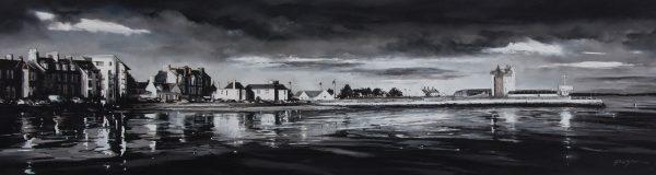Fiona Haldane_Original_Pastel_Sunilt Reflections, Broughty Ferry_16x60_28x72_3950 unframed