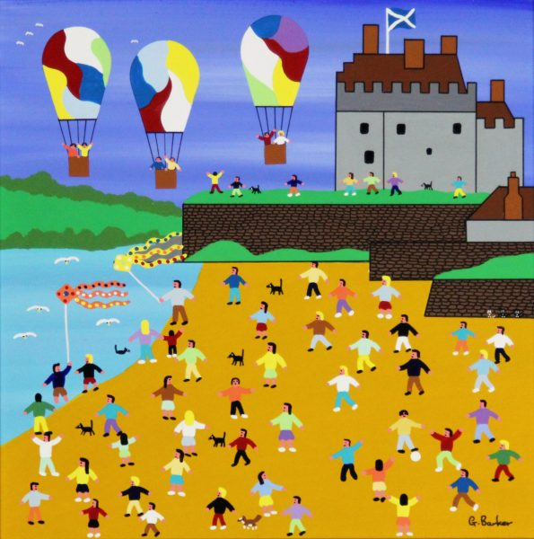 Gordon Barker_Beach Balloons at Broughty Ferry_Acrylic_195_Unframed