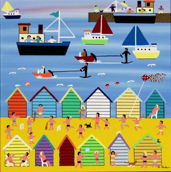 Gordon Barker_Beach Huts (II)_Acrylic_195_Unframed