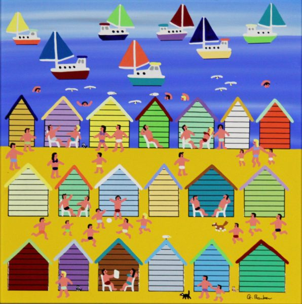 Gordon Barker_Beach Huts (I)_Acrylic_195_Unframed