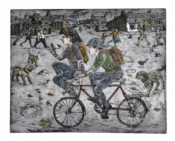 Johnny Johnstone_Bicycle Romance_Signed. Edition of 60_Etching and Watercolour_250