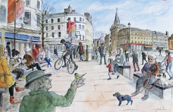 Johnny Johnstone_Boy and Bike, Man and Bird, City Centre (Dundee)_Mixed Media_14.5x22_895_Framed