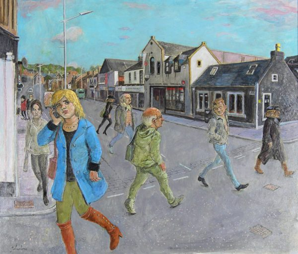 Johnny Johnstone_Down on Gray Street, Tracey and Steven Campbell can be seen_Mixed Media_23.5x27.5_27x31_1200_Unframed