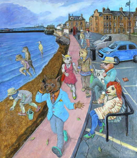 Johnny Johnstone_Down on the Esplanade a Worried Foxy Takes a Call_Mixed Media_31.5x27.5_35x31_1400_Unframed