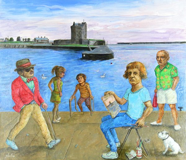 Johnny Johnstone_Grayson Paints the Castle-Picasso Isn't Impressed_Mixed Media on Canvas_25.5x29.5_28.5x32.5_1400_Unframed