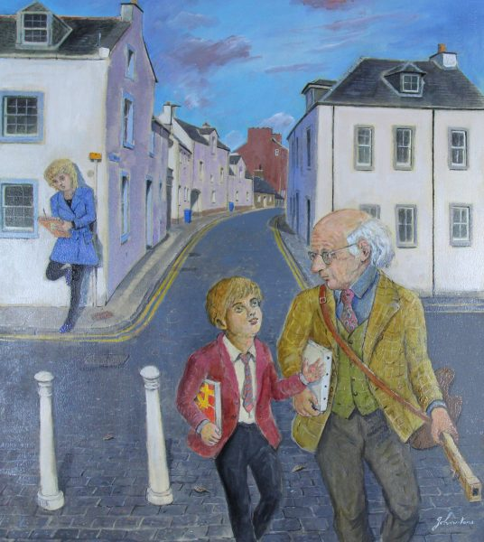 Johnny Johnstone_Mr. Patrick and a Pupil Set Out to Paint the Harbour_Mixed Media_24x21.5_28x28_995_Framed