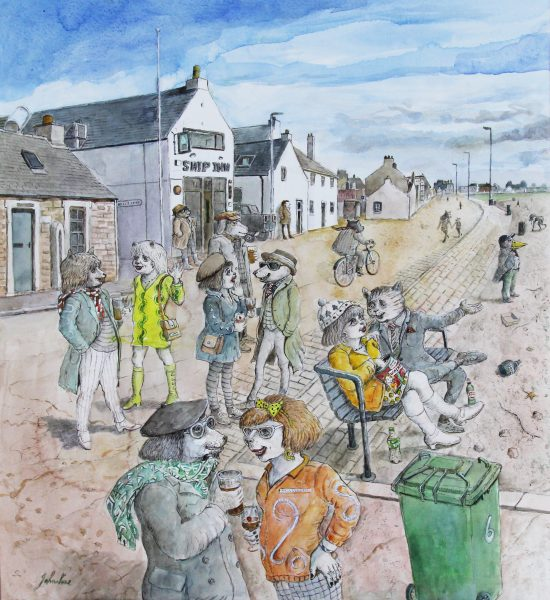 Johnny Johnstone_Outside 'The Ship' on a Summers Day, Folk Gather to Mix and While the Time Away_Watercolour on Paper_23.5x21.5_995_Framed