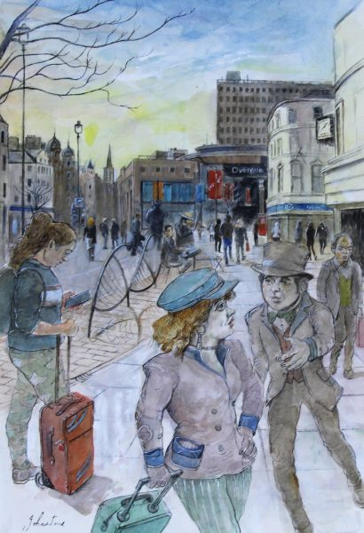 Johnny Johnstone_The Meeting, Dundee City Centre_Watercolour_21x14_895_Framed