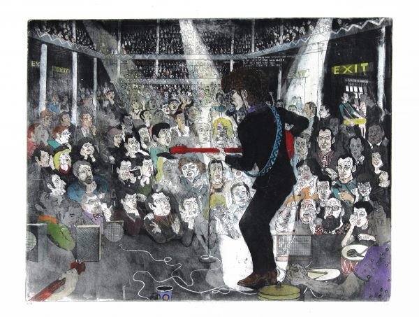 Johnny Johnstone_The Night Bob Turned Electric_Signed. Edition of 10_Etching, Watercolour and Acrylic_250