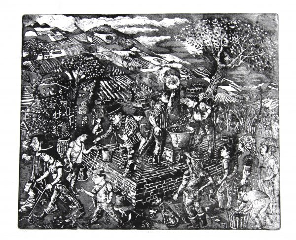 Johnny Johnstone_The Weigh-In (Berry Picking)_Signed. Edition of 50_Etching_150