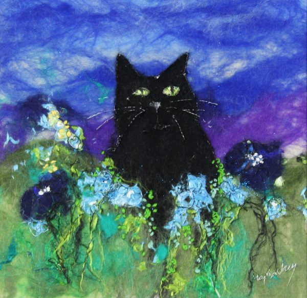 Moy Mackay_Black Cat, Blue Poppies_10x10_14x14