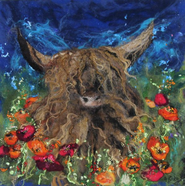 Moy Mackay_Highland Cow in Meadow_21x21_29.5x29.5_1950