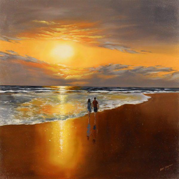 Ben Goymour_Original)Acrylics_Sunset Beach stroll II_unframed
