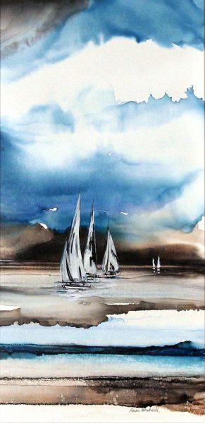 Louise Schofield_Original _Alcohol Inks_ Azure II_Unframed