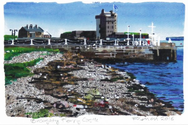 1 Stephen French _Original_Mixed Media_ broughty Ferry Castle III_ unframed 6x10- framed 14 x 18 (2)