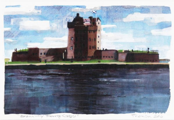 1 Stephen French _Original_Mixed Media_ broughty Ferry Castle I_ unframed 6x10- framed 14 x 18 (2)